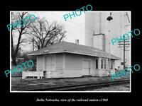 OLD LARGE HISTORIC PHOTO OF STELLA NEBRASKA, THE MKT RAILROAD STATION c1960