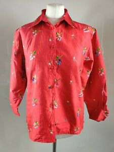 Vintage Women Blouse Shirt Top Red Floral Print Embroidered Silk Retro UK 12 M