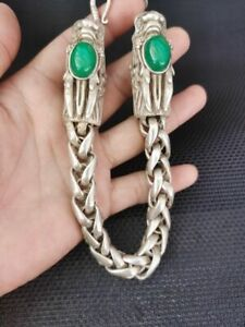 Old Chinese tibet silver inlay green jade dragon head Bracelet