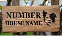 Personalised Border Collie Dog Door Gate House Wooden Sign Name Number Plaque