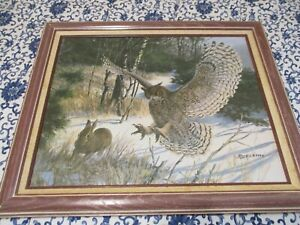 TOM BEECHAM-Wildlife Canvas Print:Great Horned Owl/Cottontail,1982-Framed 24x20