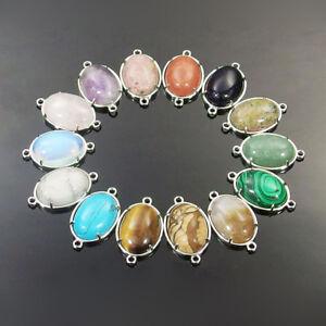 13x18mm oval natural gemstone beads connector for bracelet necklace making DIY