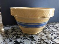 "Vintage Antique YellowWare wave  Blue Band Mixing serving Bowl Small  5"" marked?"