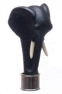 Elephant head in Black resin Fits 25mm collar, walking stick making