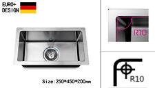 250mm Kitchen Sink R10 EDGE Handmade Stainless Steel Undermount Topmount Laundry