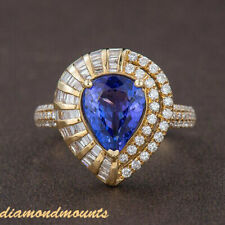 Antique Natural Diamond AAAA Pear Blue Tanzanite Promise Ring 14K Yellow Gold