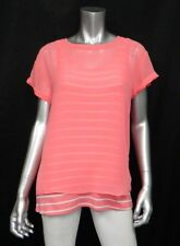 NOT YOUR DAUGHTER'S JEANS NWT Coral Orange/White Scoop Neck Layered Blouse sz S