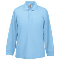 Fruit of the Loom SS320 Kids Plain Full Sleeves Polo T Shirt Polycotton Tee Tops