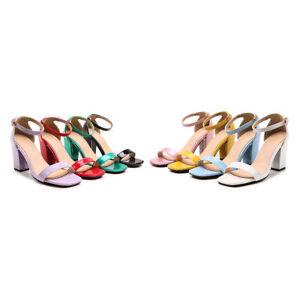 Women's 5cm Block Heel Plus Size Shoes Faux Leather Open Toe Ankle Strap Sandals