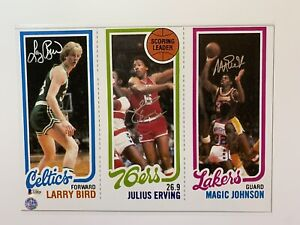 Larry Bird Julius Erving Magic Johnson autographed 11x14 photo rookie card BAS