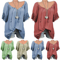 Women's V Neck Lace Tee T-Shirts Short Sleeve Blouse Loose Tunic Tops US Stock