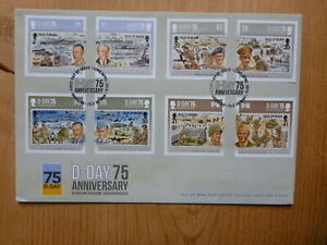 2019 ISLE OF MAN 75th ANNIV D-DAY WWII SET OF 8 STAMPS FIRST DAY COVER