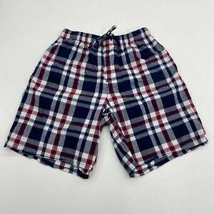 Croft & Barrow Pajama Shorts Mens M Blue White Red Drawstring Tie Plaid Stretch