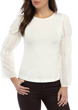 NWT Nanette Lepore Shirt Lace Long Bell Sleeve Knit Top White