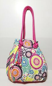 New Claire's Women's Handbag Summer Floral Bucket Style Pink Multicolor Soft