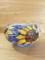 Handmade Hand Painted Sunflower Pottery Vase Signed by Artist