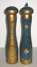 VINTAGE ITALIAN ITALY FLORENTINE GILT SALT & PEPPER GRINDER SET 1960 MID CENTURY