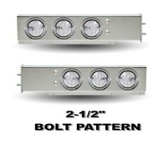 """S.S. Mud Flap Hanger w/ Clear/Red (8 LED) Lights Spring Loaded (PAIR)  2.5"""""""