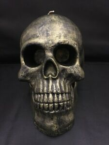 NEW Pottery Barn Halloween Rustic Silver Large Skeleton Skull Candle SOLD OUT