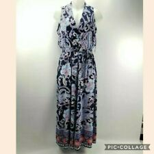 NEW Studio One Small Womens Jumpsuit Blue Red Paisley Sleeveless Romper V Neck