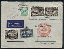 Germany, 1936 Flight cover to Argentina (bkstp) franked w/4mk (3) Zepp stamps