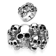 Edelstahl  Ring  Stainless Steel Biker Multi Totenkopf Cluster Skulls R7684-X