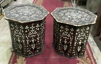 Pair of Vintage Handmade End Table Inlaid Mother of Pearl  16""