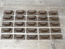 "25 CAST IRON BROWN 3"" ORNATE PULLS DRAWER CABINET BIN HANDLES RUSTIC VINTAGE"