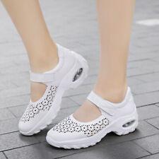 UK Women Wedge Heel Flat Nurse Sandals Hollow Breath Walking Shoes Loafer Casual