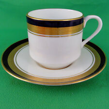 COBALT ROYALE Aynsley Cup & Saucer Merit Shape NEW NEVER USED 24kt gold England