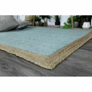 sky blue and natural border handwoven solid rugs custom size original jute rug