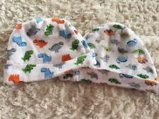 2 Gerber Baby Boys White Blue Orange Green Dinosaurs Snug Fit Hats 0-6 Months