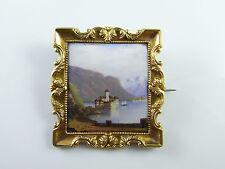 Victorian 18K Gold Miniature Enamel Castle Pin Swiss Brooch Antique 19th C 750