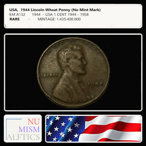 1944 Lincoln Wheat Penny whithout mint mark