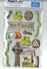 Paper House IRELAND (12) 3-D CHIPBOARD Stickers scrapbooking FLAG SHAMROCK RUINS