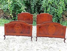 Antique Edwardian Art Deco Mahogany Flowered floral Bouquet inlay Twin Bed Pair