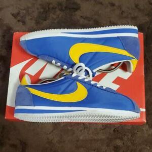 NIKE Classic Cortez Nylon Men's Sneakers Shoes Size 9.5 Blue x Yellow JPN USED