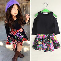 Kids Girls Casual Outfits Set Long Sleeve T-shirt Tops Floral Party Skirt Dress