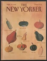 1985 Autumn Squash Vegetables art September 30 New Yorker Magazine COVER ONLY