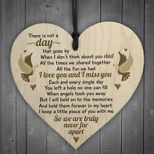 I Miss You Home Grave Garden Memorial Wooden Heart In Memory Dad Plaque Gifts