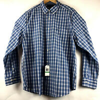 Nautica Mens Long Sleeve Classic Fit Delft Blue Plaid Shirt Sz Large NEW $69.50