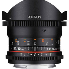 Rokinon 12mm T/3.1 Full Frame Cine DS Fisheye Lens F/Video DSLR Canon EOS Camera