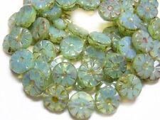 12mm Seafoam Opal Picasso Czech Glass Table Cut Wheel Beads (10) #4716