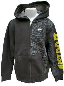 Nuovo Nike Just Do It Ragazzi Cappuccio Giacca Nera 140-152 CM Età 10-12 Anni
