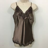 Hale Bob silk Lace Trim spaghetti strap tank top camisole Large Brown