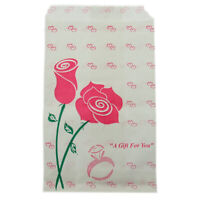 Pink Rose Style Paper Gift Bags For Jewelry Merchandise Shopping 4x6 Pack Of 100