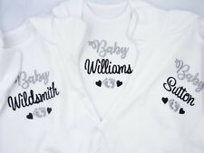 Personalised Embroidered UNISEX BABY SURNAME/NAME footprints hearts clothing bib
