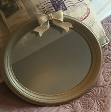 Shabby Chic Wall Mounted Oval Painted Mirror With Bow Detail Grey or White 7422 Grey