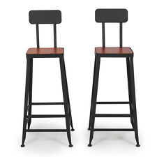 Industrial Bar Stools Counter Top Height Vintage Draft Home Wood Seat, Set of 2