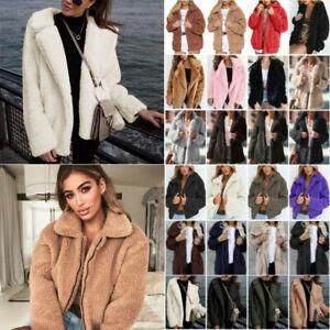 Womens Thick Fleece Coat Teddy Bear Fur Baggy Jackets Winter Fluffy Outwear Tops